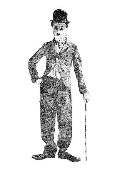 Charlie Chaplin Pencil dots on canvas